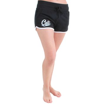 Cali Bear Logo Track Shorts Black