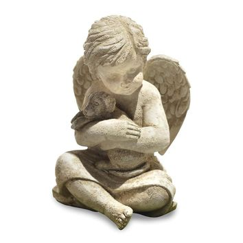 Cherub With Dog Cement Statue
