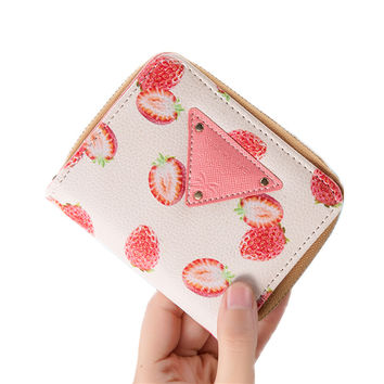 Women Wallet Korean Fashion Cute Leather Wallet Printed Small Women Banana Pineapple Strawberry Purse Cion Pocket Card Holder