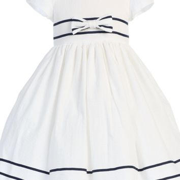 Girls White Cotton Seersucker Dress w. Navy Trim 3m-7