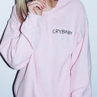 Embroidery Corner CryBaby Pink Crewneck