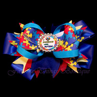 Autism Awareness Hair Bow with Bottle Cap