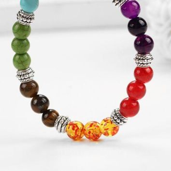 ONETOW Colorful beads volcanic rocks turquoise frosted agate beads energy beads beads stretch bracelet