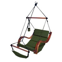 Green Hammock Hanging Chair Porch/Patio Swing with Wooden Armrest