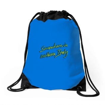 call me by your name somewhere in northern italy Drawstring Bags