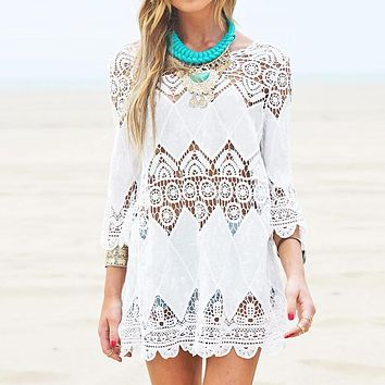 Vestidos 2017 Summer Boho Women Beach Mini White Dress Elegant Half Sleeve Lace Floral Crochet Hollow Out Solid Dress Long Tops