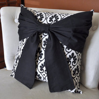 Black Bow on Designer Fabric Pillow 14 x14 by bedbuggs on Etsy