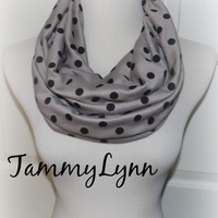 NEW!! Black Polka Dots on Mocha Ponte De Roma Knit Infinity Scarf Women's Accessories