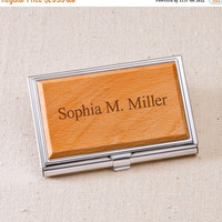Engraved Wood Business Card Case - Personalized Business Card Case (1125)