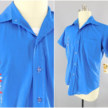 1960s Vintage / Bud Berma / Retro Lounge Shirt / Mid Century Modern / Mad Men Style / Custom Embroidered / Club Shirt / Size 42-44
