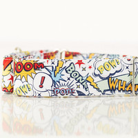 "The ""Super Dog"" Adjustable Dog Collar - Martingale or Regular - 2"" Wide - Nickel Hardware - Colorful Comics Action Superhero"