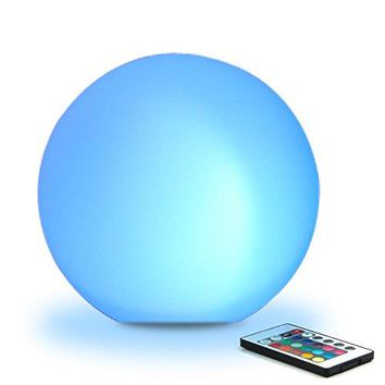 """8"""" Ultra-fun LED Glowing Ball Light (w/ Remote), 16 RGB Color Changing/Brighten/Dim, 4 Lighting Effects/Speed+/-, IP68 Waterproof, Rechargeable Battery & Adapter Power **STUNNING LIGHT SHOW**"""