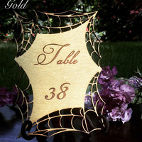 Spider web gothic table numbers laser cut and engraved wood with stand custom halloween decor