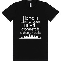 Home.-Female Black T-Shirt