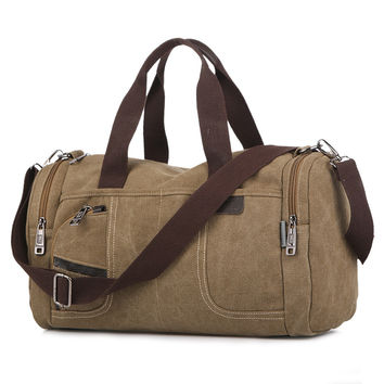 c5fc489b39 Men Vintage Canvas Travel Bags Women Weekend Carry On Luggage   Bags  Leisure Duffle Bag Large