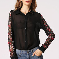 Black Floral Sheer Long Sleeve Blouse