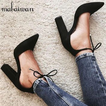 Sexy Black Women Sandals Summer Lace Up Gladiator Chunky High Heels 9CM Women Pumps Wedding Dress Shoes Woman Zapatos Mujer