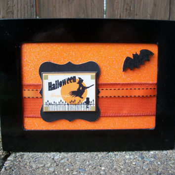 Halloween Greetings Witch & Bat 3D Wall Decoration, 4 x 6, Hanging or Free Standing