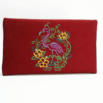 Red Clutch or Wallet With Embroidered Flamingo Design/ Zipper Wallet in Red/ Flamingo Zip Wallet/ Flamingo Clutch/ IPhone Pouch
