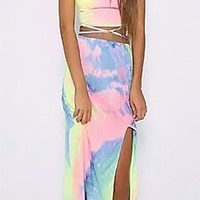 Beach Club Blue Yellow Pink Tie Dye Spaghetti Strap Crop Tank Slit Front Two Piece Maxi Dress