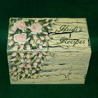 Elegant Recipe Box Wood Wedding Recipe Card Box Distressed Coral Personalized
