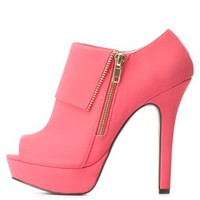 Side-Zip Peep Toe Platform Booties by Charlotte Russe