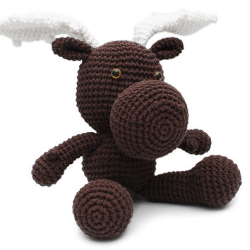 Dark brown Moose Handmade Amigurumi Stuffed Toy Knit Crochet Doll VAC
