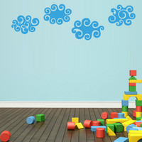 rvz1741 Wall Vinyl Sticker Bedroom Decal Set of 4 Clouds