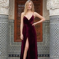 Luxury Awaits Burgundy Velvet Wrap Maxi Dress - RESTOCKED
