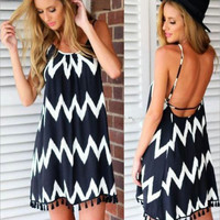 Summer Women Striped Dress Sexy Sleeveless Casual Party Beach Short Mini Boho Women Dress Chiffon