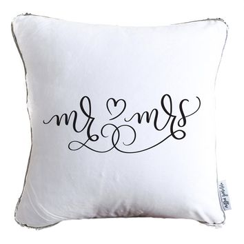 Mr. & Mrs. Hand Drawn Calligraphy Decorative Throw Pillow w/ Silver & White Reversible Sequins   COVER ONLY (Inserts Sold Separately)