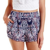 Navy Combo Paisley Print High-Waisted Shorts by Charlotte Russe