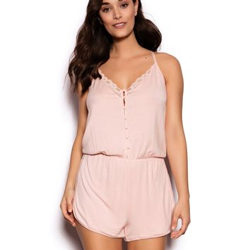 Mesh Detail Playsuit - Blush Pink