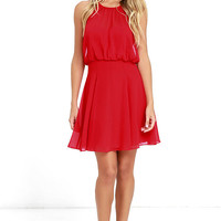 Mesmerizing Moment Red Skater Dress