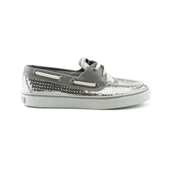Womens Sperry Top-Sider Bahama Sequin Boat Shoe, Silver Sequin  Journeys Shoes