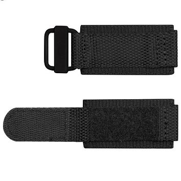 Black Nylon Watchband Durable Heavy Duty Nylon Fabric with Hook and Look Watchband Replacement Waterproof