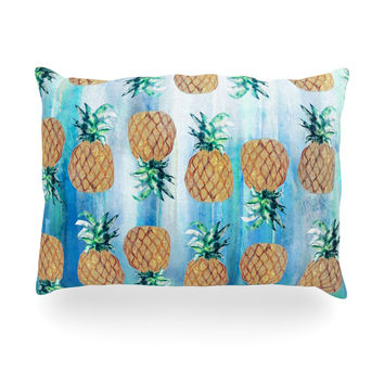 "Nikki Strange ""Pineapple Beach"" Blue Brown Oblong Pillow"