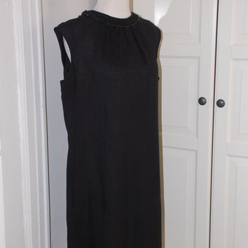 60s Sheath Dress, Black Linen, Beaded Neckline, Kay Windsor, NWOT, Size Large, Larger Size
