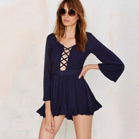Cutout Lace Up Front Horn Sleeves Pleated Flounced Rompers