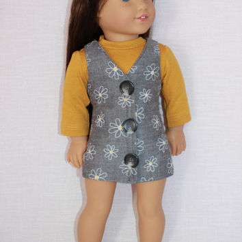 18 inch doll clothes, gold long sleeve shirt, grey floral print jumper, Upbeat petites