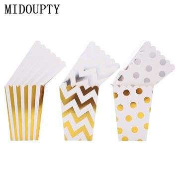 Popcorn Box Candy Snack Favor Wedding Bags Chevron Stripes Dot Gold Gift Bags Kids Movie boxes for party favors Supplies