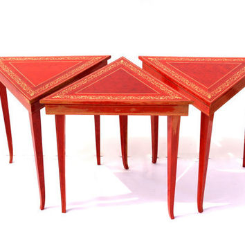 Vintage Italian Music Tables, Triangle Shaped Nesting Tables in Red Lacquer with Gold Accents, Reuge Music Boxes, in Original Shipping Crate