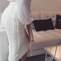 ESBON FASHION PURE COLOR KNITTED SKIRT