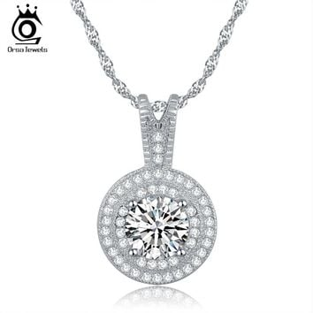 ORSA JEWELS New Arrival Wedding Pendant Necklace 1.25 ct Heats and Arrows Cut AAA Zircon Micro Pave CZ Necklace For Women ON87