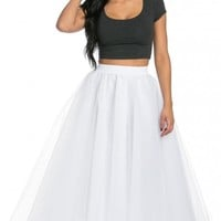 Structured Maxi Tulle Skirt in White (Plus Sizes Available)