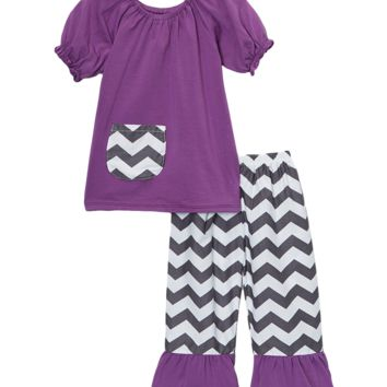 Purple Chevron Capri & Top Set