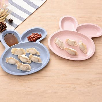 Lovely Cartoon Dishes Plates Natural Healthy Wheat Straw Cute Rabbit Shape Grid Plate Snack Lunch Plate For Baby Dinner Bowl