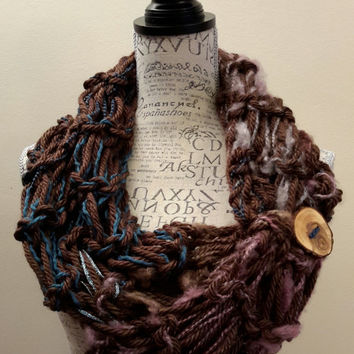 Knit chunky brown and teal button cowl. crochet chunky infinity scarf. Made by Bead Gs on ETSY. double stitch