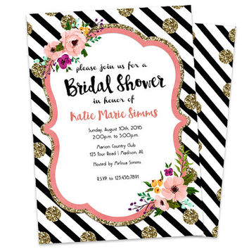 Bridal Shower Invitation - Black and White Bridal Invitations - Floral Bridal Shower Invite - Elegant - Gold Glitter - Trendy - Modern Fast
