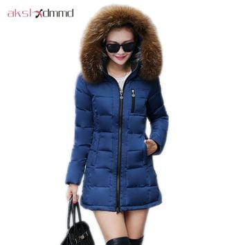 AKSLXDMMD women coat winter 2017 New Female Slim Down Cotton Jacket Hooded Faux Fur Collar Ladies Elegant Coat plus size DX620